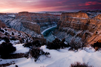 A pink and purple sunrise over devil canyon - Bighorn Canyon