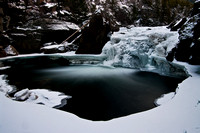 A small frozen waterfall in the Stillwater Canyon