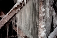 Icicles building on the strutcures below the flumes at Mabry Mill.