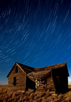 Startrails over old homestead near Molt, MT.
