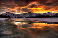 Fire-y Sunrise over an icey yellowstone river