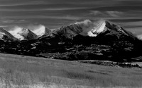 Black and White image of the Crazy Mountains