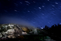 Stars over Mammoth hot springs.